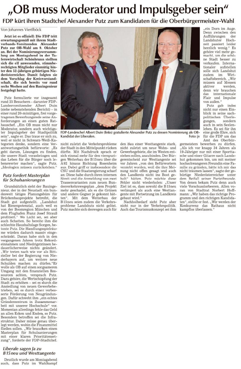 Landshuter Zeitung OB Kandidat Alexander Putz